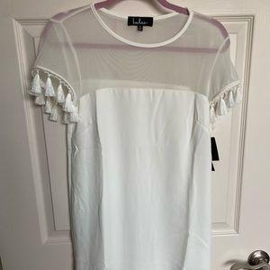 Lulu's White Mesh Tassel Sleeve Dress